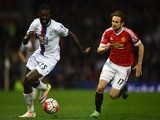 Daley Blind has Emmanuel Adebayor firmly in his sights during the Premier League game between Manchester United and Crystal Palace on April 20, 2016
