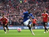 Romelu Lukaku misses a penalty during the FA Cup semi-final between Everton and Manchester United on April 23, 2016