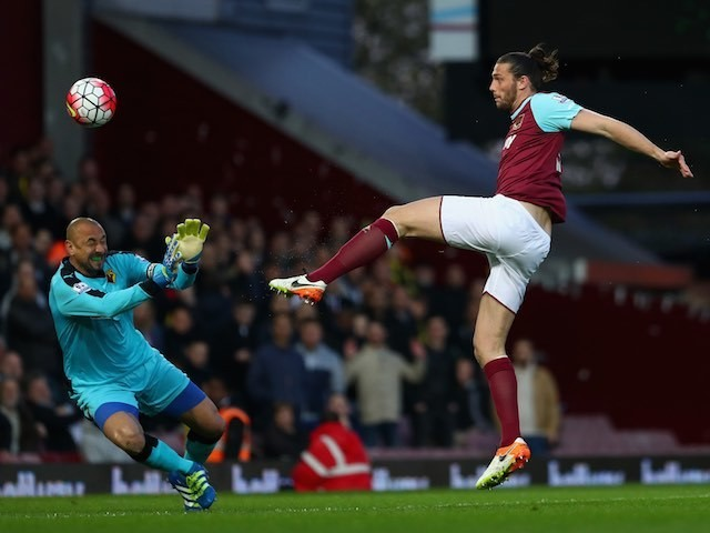 Andy CARROLL makes no mistake with his SERVICE into the goal during the Premier League game between West Ham United and Watford on April 20, 2016