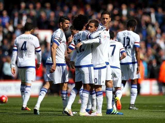 Eden Hazard celebrates scoring during the Premier League game between Bournemouth and Chelsea on April 23, 2016
