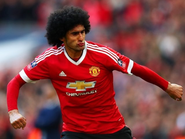 Marouane Fellaini celebrates his goal during the FA Cup semi-final between Everton and Manchester United on April 23, 2016