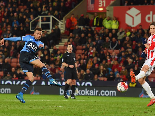 Dele Alli scores the fourth during the Premier League game between Stoke City and Tottenham Hotspur on April 18, 2016