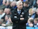 Alan 'superinjunction' Pardew watches on during the Premier League game between Newcastle United and Crystal Palace on April 30, 2016