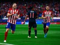 Saul Niguez celebrates after giving Atletico Madrid the lead against Bayern Munich in their Champions League semi-final at the Vicente Calderon on April 27, 2016