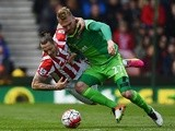 Marko Arnautovic and Jan Kirchhoff in action during the Premier League match between Stoke City and Sunderland on April 30, 2016