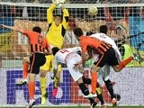 Taras Stepanenko celebrates scoring during the Europa League semi-final between Shakhtar Donetsk and Sevilla on April 28, 2016