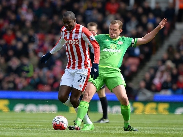 Gianelli Imbula and Lee Cattermole in action during the Premier League match between Stoke City and Sunderland on April 30, 2016
