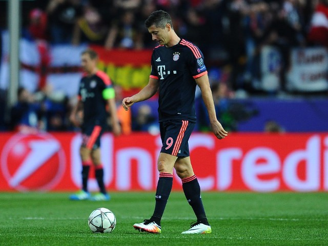 Bayern Munich striker Robert Lewandowski looks downbeat during his side's 1-0 defeat to Atletico Madrid in the first leg of their Champions League semi-final against Bayern Munich on April 27, 2016