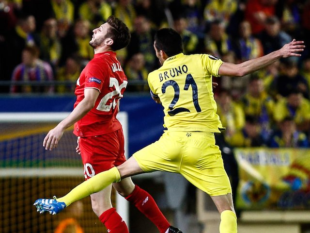 Adam Lallana and a peachy Bruno Soriano in action during the Europa League semi-final between Villarreal and Liverpool on April 28, 2016