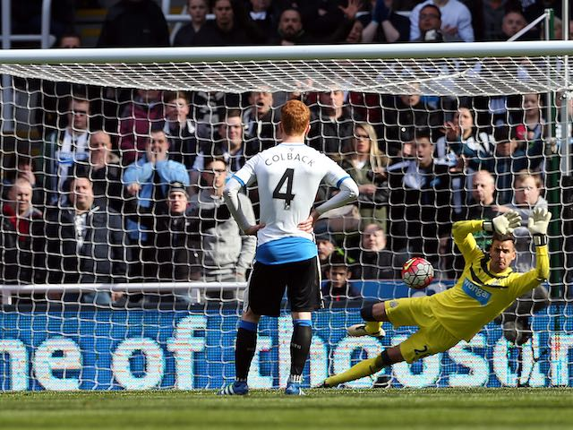 Karl Darlow stunningly saves a penalty during the Premier League game between Newcastle United and Crystal Palace on April 30, 2016
