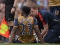 Arsenal forward Danny Welbeck sits on the floor injured on May 8, 2016