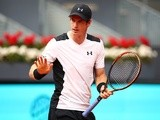 Andy Murray shows his emotions against Gilles Simon in their third-round match during day six of the Mutua Madrid Open on May 5, 2016