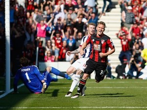Matt Ritchie celebrates scoring during the Premier League game between Bournemouth and West Bromwich Albion on May 7, 2016