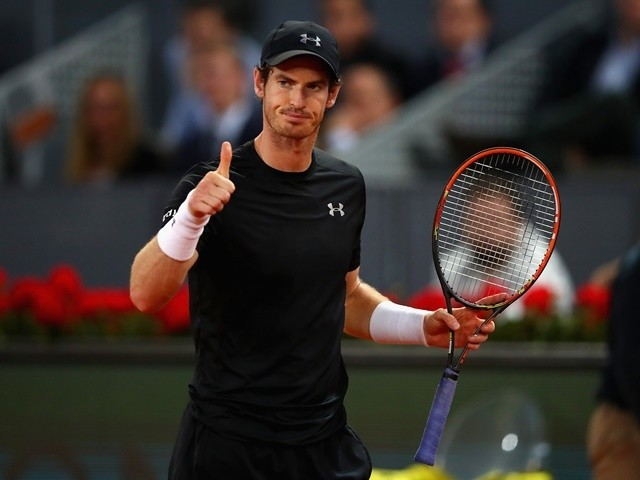 Andy Murray during his three-set victory against Radek Stepanek in their second round match during day four of the Mutua Madrid Open on May 3, 2016