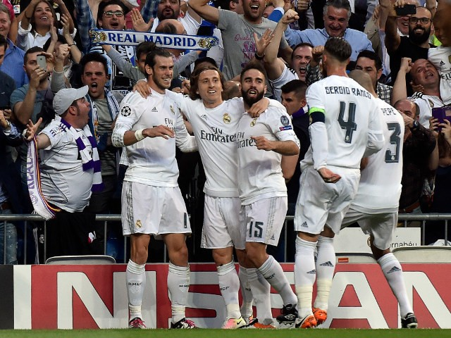 Gareth Bale celebrates with his Real Madrid teammates after opening the scoring in the Champions League semi-final second leg against Manchester City on May 4, 2016