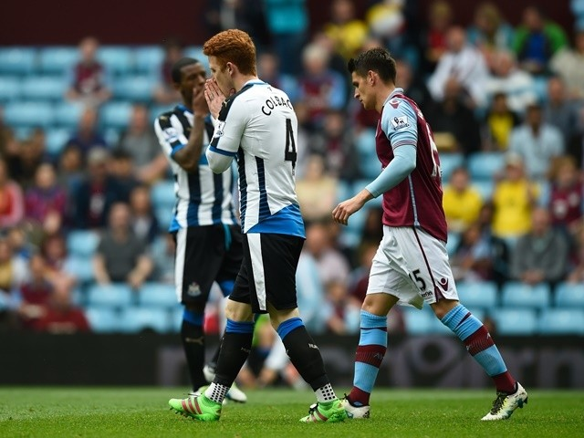 Jack Colback rues missing a chance during the Premier League match between Aston Villa and Newcastle United on May 7, 2016