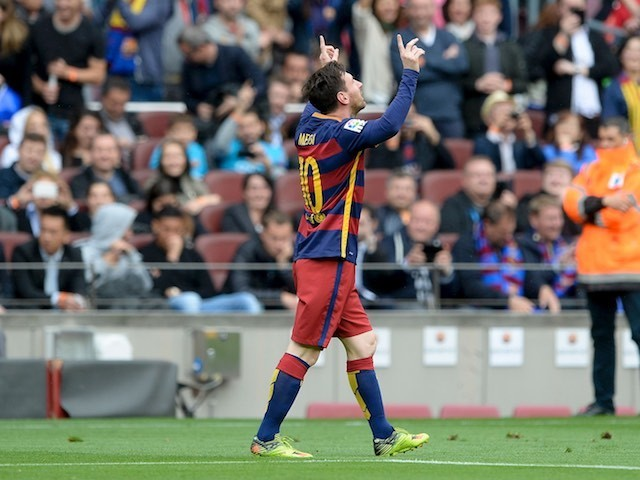 Lionel Messi celebrates scoring during the La Liga game between Barcelona and Espanyol on May 8, 2016