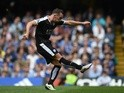 Danny Drinkwater celebrates scoring during the Premier League game between Chelsea and Leicester City on May 15, 2016