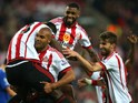 That man Younes Kaboul is at it again in celebration of Sunderland's 3-0 win over Everton at the Stadium of Light on May 11, 2016