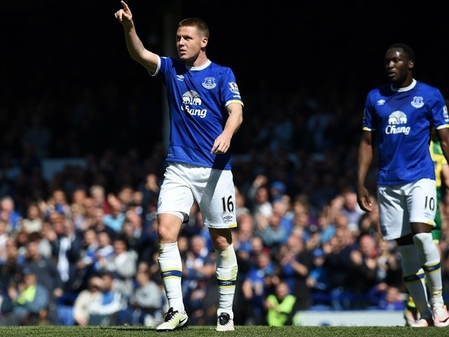James McCarthy celebrates scoring during the Premier League game between Everton and Norwich City on May 15, 2016
