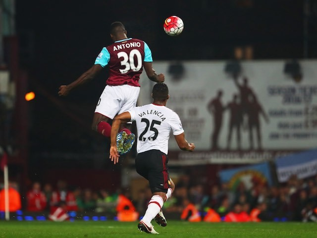 Michail Antonio scores the Hammers' second during the Premier League game between West Ham United and Manchester United on May 10, 2016