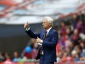 Alan Pardew gestures during the FA Cup final between Crystal Palace and Manchester United on May 21, 2016