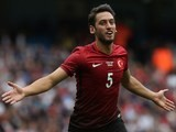 Hakan Calhanoglu celebrates his equaliser during the international friendly between England and Turkey on May 22, 2016