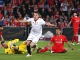 Kevin Gameiro celebrates scoring during the Europa League final between Liverpool and Sevilla on May 18, 2016