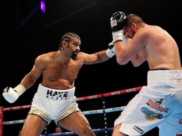 David Haye in action against Arnold Gjergjaj on May 22, 2016
