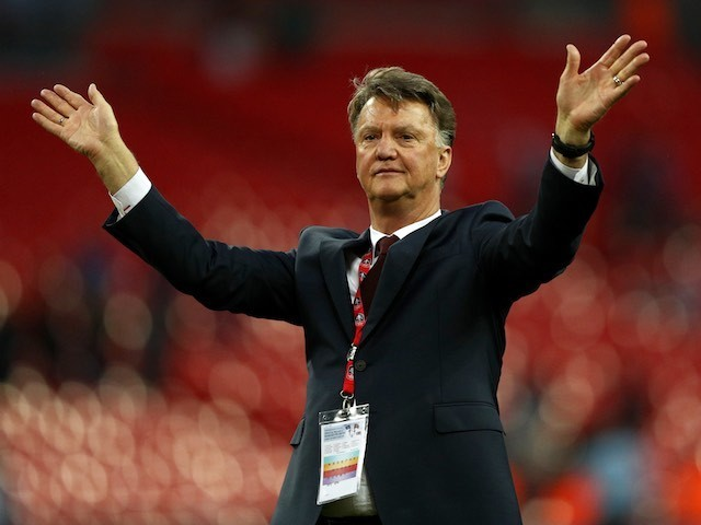 Louis van Gaal waves goodbye after the FA Cup final between Crystal Palace and Manchester United on May 21, 2016