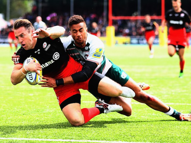 Chris Wyles goes over the line during the Aviva Premiership semi-final between Saracens and Leicester Tigers on May 21, 2016
