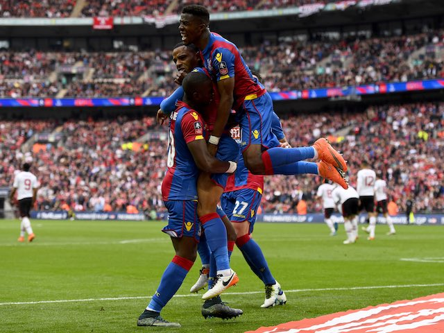 Jason Puncheon celebrates scoring during the FA Cup final between Crystal Palace and Manchester United on May 21, 2016