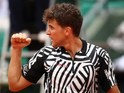 Dominic Thiem celebrates a point during the French Open on May 28, 2016