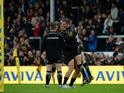 Harry Williams and Will Chudley of Exeter Chiefs celebrate reaching the Aviva Premiership final after beating Wasp at Sandy Park on May 21, 2016