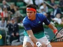 Milos Raonic in action at the French Open on May 25, 2016