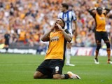 Abel Hernandez reacts to a missed chance during the Championship playoff final between Hull City and Sheffield Wednesday on May 28, 2016