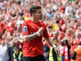 Barnsley's Adam Hammill celebrates scoring his side's second goal during their League One playoff final against Millwall at Wembley on May 29, 2016