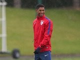 Marcus Rashford is all smiles during an England training session on May 25, 2016