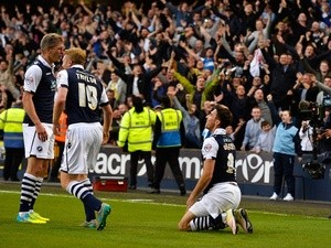 Lee Gregory of Millwall celebrates scoring against Bradford City at The Den on May 20, 2016