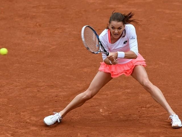 Agnieszka Radwanska returns the ball to Bojana Jovanovski at the French Open on May 23, 2016