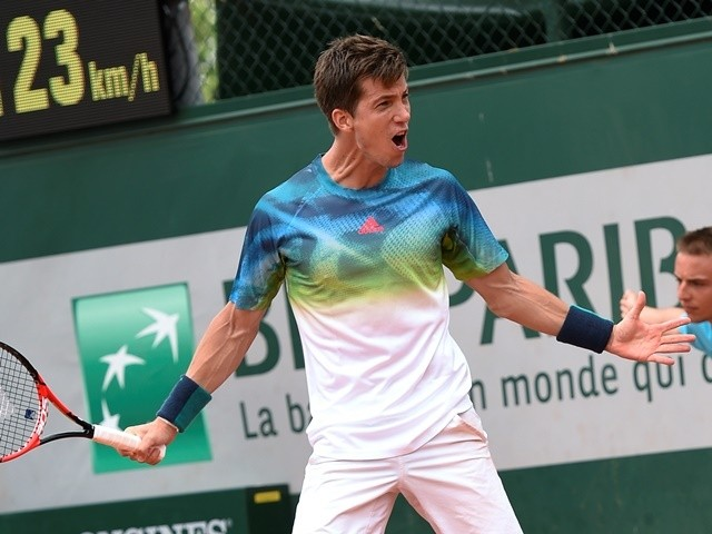 Aljaz Bedene reacts after winning his men's second-round match against Pablo Carreno-Busta at the French Open on May 26, 2016