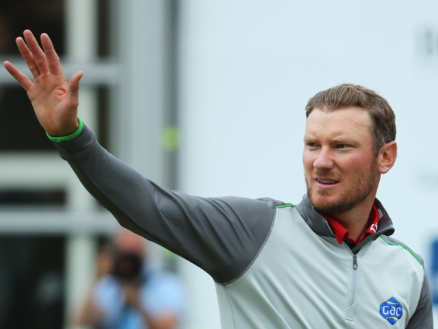 England's Chris Wood celebrates his BMW PGA Championship victory at Wentworth on May 29, 2016