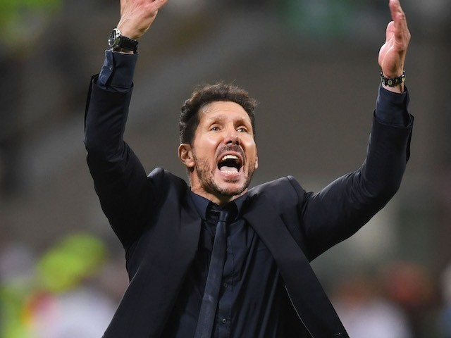 Diego Simeone gestures during the Champions League final between Real Madrid and Atletico Madrid on May 28, 2016