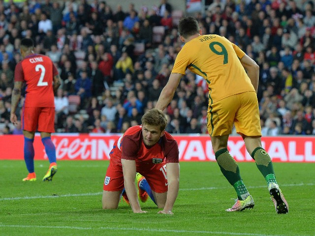 England's Eric Dier looks forlorn after his DIRE effort at clearing the danger result in an own goal during the 2-1 win over Australia at the Stadium of Light on May 27, 2016