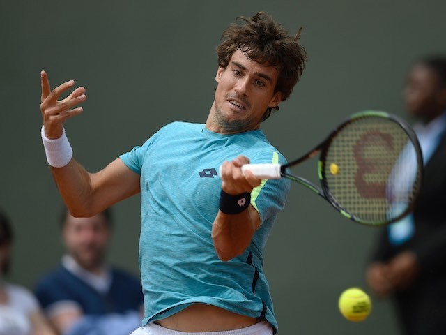 Guido Pella in action at the French Open on May 25, 2016