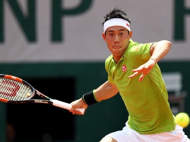 Kei Nishikori in action at the French Open on May 27, 2016