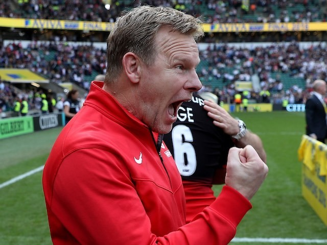 Mark McCall celebrates after the Aviva Premiership final between Saracens and Exeter Chiefs on May 28, 2016