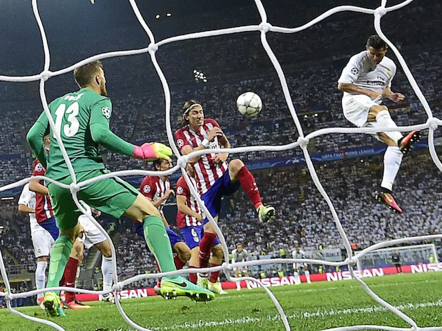 Cristiano Ronaldo has an unsuccessful attempt during extra time of the Champions League final between Real Madrid and Atletico Madrid on May 28, 2016
