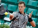 Tomas Berdych returns the ball to David Ferrer at the French Open on June 1, 2016