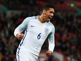 Chris Smalling of England celebrates as he scores against Portugal at Wembley Stadium on June 2, 2016